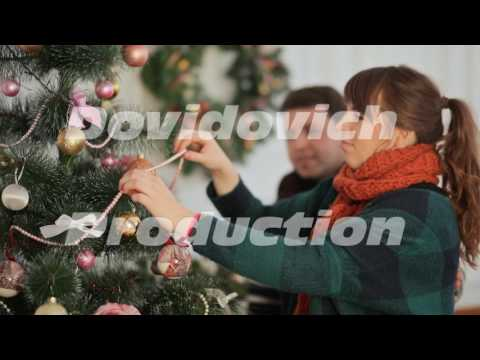 Xxx Mp4 Beautiful Young Couple In Love Decorating Christmas Tree Arranging The Christmas Lights And Having 3gp Sex