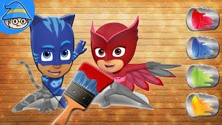 PJ MASKS Puzzles game! Pj Masks color painting, Draw and color for Kids.