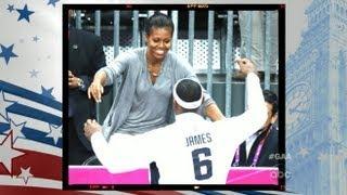 London 2012 Olympics: Michelle Obama Hugs Olympians
