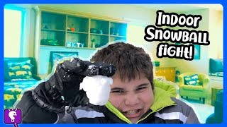 SNOWBALL FIGHT In The HOUSE! Throwing Snow In HobbyHouse By HobbyKidsTV