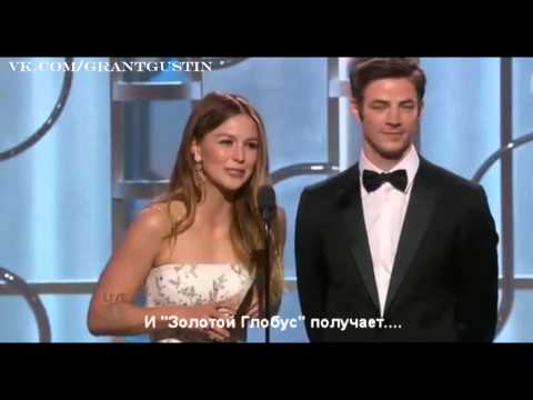 Grant Gustin and Melissa Benoist at the Golden Globe 2016 RUS SUB