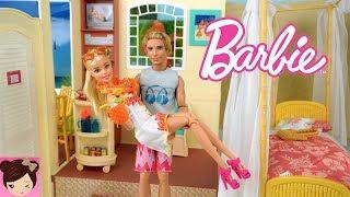 Barbie and Ken Hawaiian Hotel Bedroom Vacation Routine - Titi Dolls