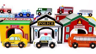 Toy Vehicles Inside Their Garage Parking Spaces Police Car Fire Truck Garbage Truck