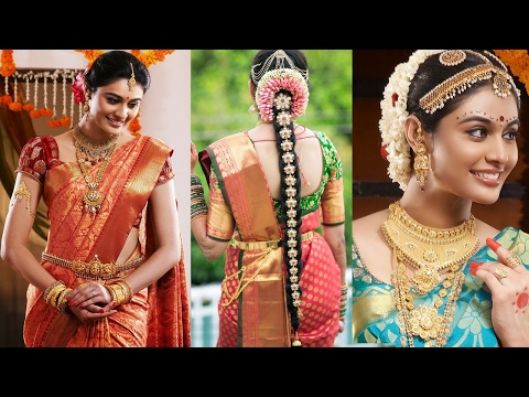 South Indian Bridal Saree Draping with Bridal Makeup &Bridal Hairstyle Step By Step |Marriage Makeup