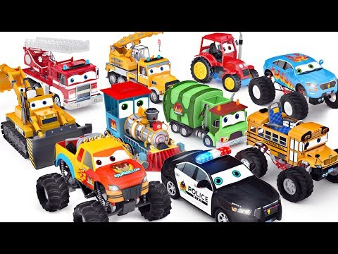 Wheels On The Bus   Cars Toys ft Monster truck School bus Police Car  - appMink playlist 100 mins