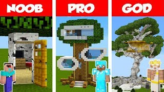 Minecraft NOOB vs PRO vs GOD: Modern Tree House CHALLENGE in Minecraft / Animation