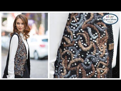İşlemeli Yelek Yapımı - Embroidery Vest w/ Alize Angora Gold Batik