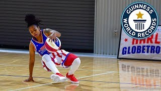 Most basketball under the leg tumbles in one minute (female) - Guinness World Records Day 2018