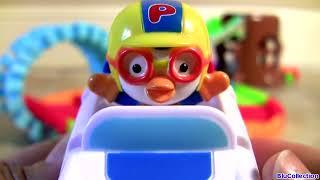 Pororo Swiggle Tracks Motorized Police Car With Elevator & Bridge Review Blu Toys Surprise 뽀롱뽀롱 뽀로로
