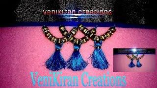 How to make Saree Kuchu/Tassels Design using Silk Thread with Beads - Design 6