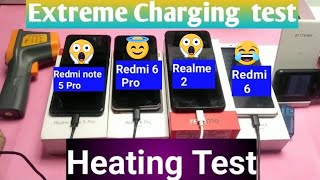 Realme 2 Vs Redmi 6 Pro Vs Redmi 6 Vs Redmi note 5 pro Extreme Charging and heating Test |