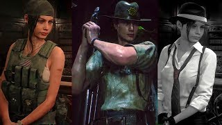 RESIDENT EVIL 2 REMAKE Claire & Leon DLC Costumes Gameplay (2019)