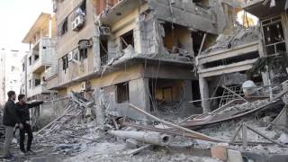 حملة تصعيد روسية عنيفة تستهدف مدينة دوما ومجازر ترتكب بحق اهلنا بالغوطة