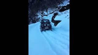 Driving on virgin snow on Chanshal Top