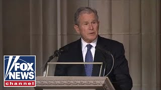 George W. Bush delivers an emotional eulogy at his father