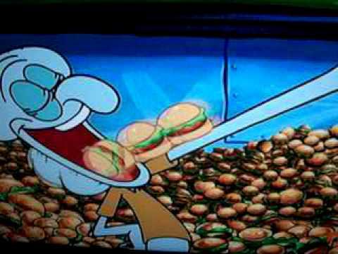 spongebob squidward enjoying his time with krabby patty