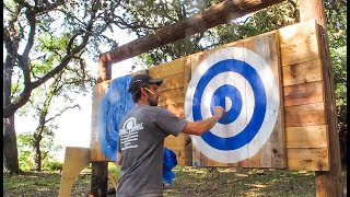 The Perfect Use For An Old Telephone Pole...An Axe Target!!