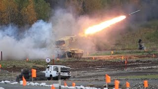 RAE 2015 Russia Arms Expo Day 3 live firing BMPT Terminator 2S19M2 T-90S MBT TOS-1A flame thrower