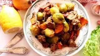 Говядина с брюссельской капустой в мультиварке\\ Beef with Brussels sprouts in mulivarke