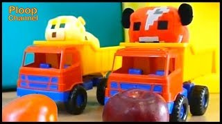 Minecraft Puppets FOOD SCHOOL with Skolka & Polka - Learning videos for kids with Soft toys