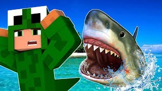 STRANDED SHARK ATTACK CHALLENGE! Minecraft Shark Attack