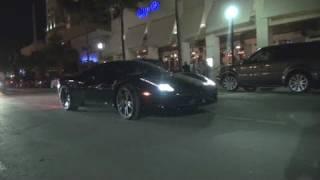 2 Ferrari 458s in Miami Beach-Accelerations, Startup and Video