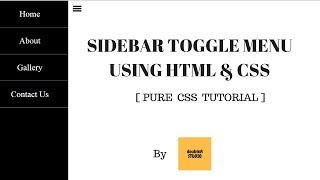 Sidebar Toggle Menu using HTML & CSS || By doubleA studio