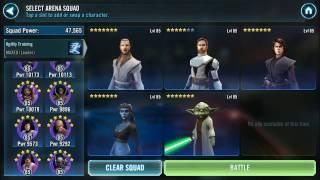 SWGOH Squad Arena: QGJ Zeta, General Kenobi & Jedi vs. EP, Vader, Boba, B2 & Shoretrooper