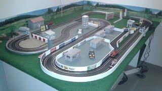 DIY Carrera bahn selber bauen - Kiesbett / Gebäude / Deko - Slotcar Rennbahn eigenbau - Modellbau