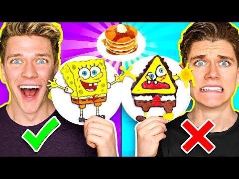 PANCAKE ART CHALLENGE 3 Learn How To Make Spongebob Star Wars Jedi & Wonder Woman DIY Pancake