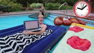AIR MATTRESSES ON MY POOL OVERNIGHT CHALLENGE!