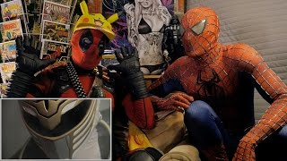 WHITE RANGER vs SCORPION - REACTION SPANDEX - with SPIDER-MAN and DEADPOOL