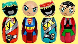 POWER RANGERS SUPERMAN Superhero Wrong Heads Game, Avengers Toy Surprises TUYC