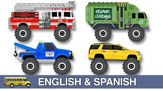 Monster Street Vehicles Names & Sounds in English & Spanish #1 Bilingual Learning Colors for Kids