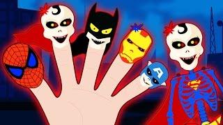 Skeleton Superhero Finger Family | Spooky Finger Family | Scary Nursery Rhymes | HooplaKidz Toons