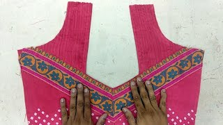 Blouse Design With Pin Tucks And Using Blouse Border In Hindi |DIY|
