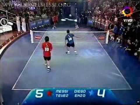 Messi & Tevez VS Maradona & Enzo Football Tennis