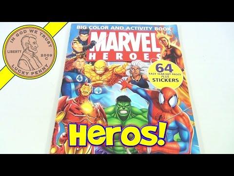 Marvel Heroes Coloring Book, 2005 - Fantastic Four, Spiderman, Hulk, Thing, Wolverine