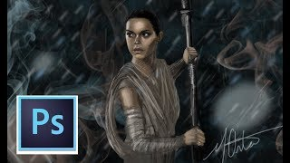 Drawing Daisy Ridley as Rey from Star Wars the Force Awakens || The Last Jedi