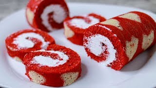 Red Velvet Swiss Roll Cake Without Oven | Heart Pattern Swiss Roll Cake | Swiss Roll Cake Recipe