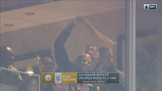 Ryan Shazier Waves Terrible Towel from Stands & Cheers On His Team!   Pats vs. Steelers   NFL Wk 15