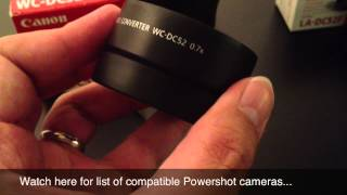 Canon WC-DC52 wide lens converted with LC-DC52F adapter eBay auction