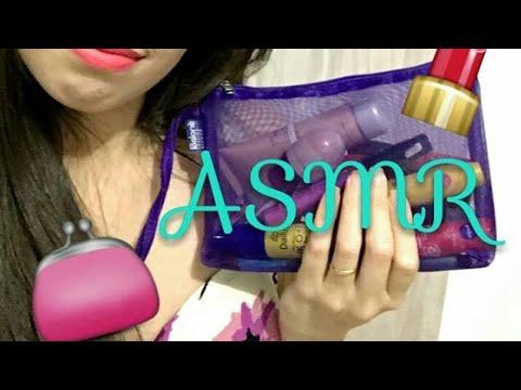 ASMR  Português [Reupload] Minha necessaire de maquiagem 💄l whisper , tapping - video para dar sono
