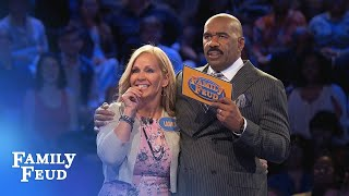 Chris goes for the COME BACK! | Family Feud