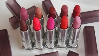 MAYBELLINE SENSATIONAL MATTE Lip swatches 10 shades