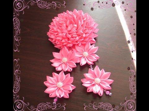 Цветы из лент тонких