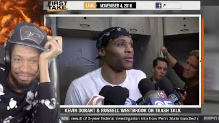 DUMBEST THING I'VE EVER HEARD....KEVIN DURANT DESTROYS WESTBROOK IN WARRIORS BLOWOUT WIN REACTION!