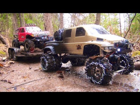 RC ADVENTURES OVERKiLL PUTS CHAiNS ON PiNKY MUDDY SCALE 4x4 TRUCKS & TRAILER