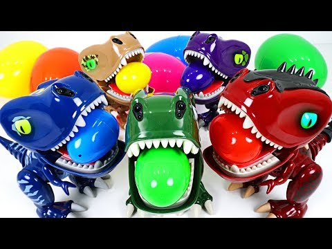 Five fearless baby dinosaurs fighting against a giant dinosaur and surprise eggs play - DuDuPopTOY