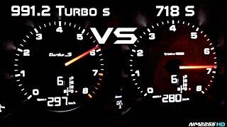 Porsche 991.2 Turbo S vs. Porsche 718 Boxster S 0-280km/h Acceleration Comparison